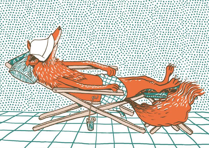 Fuchs im Liegestuhl